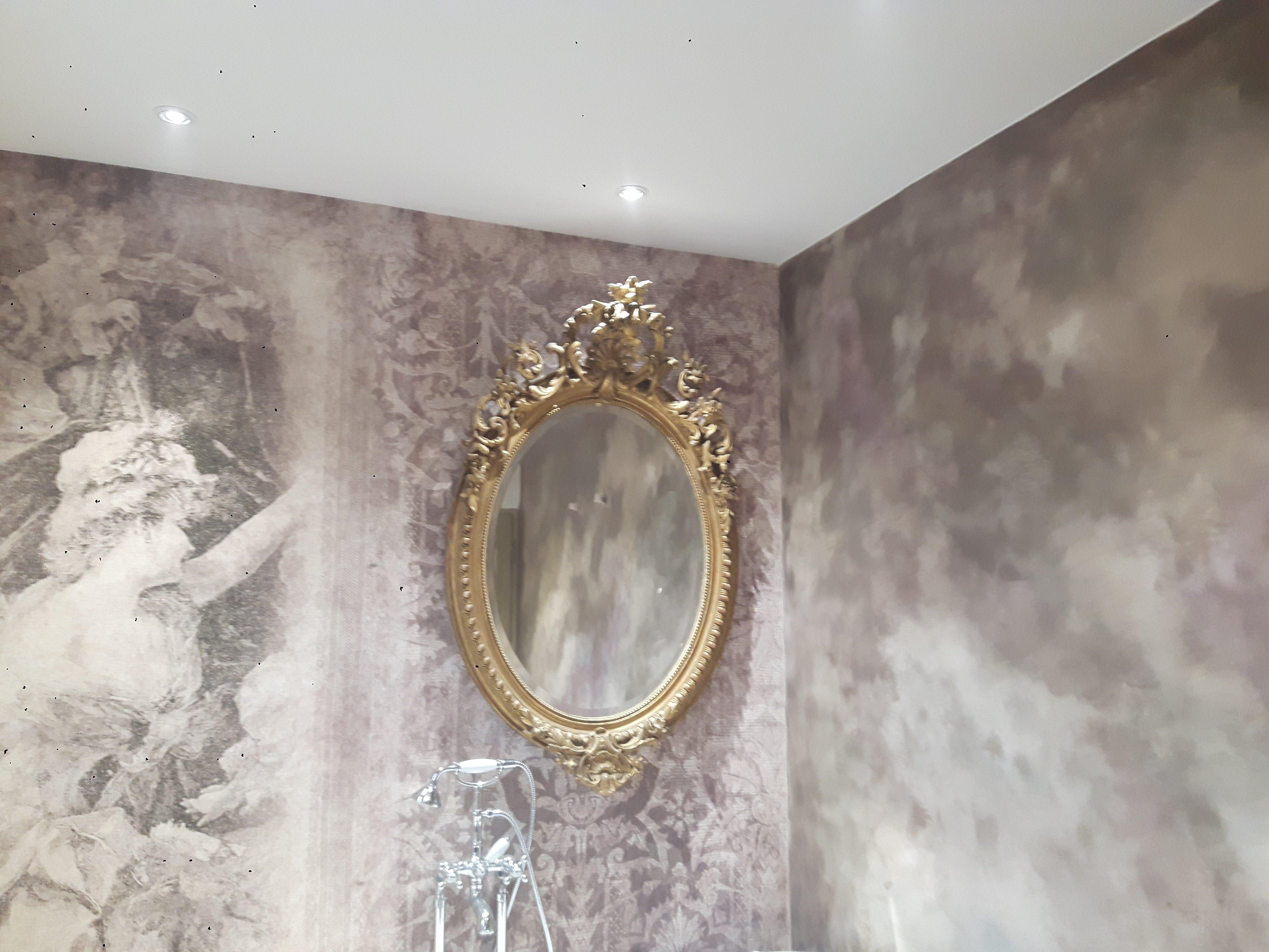badigeons de chaux et papier peint dans une salle de bain - Salle De Bain A La Chaux